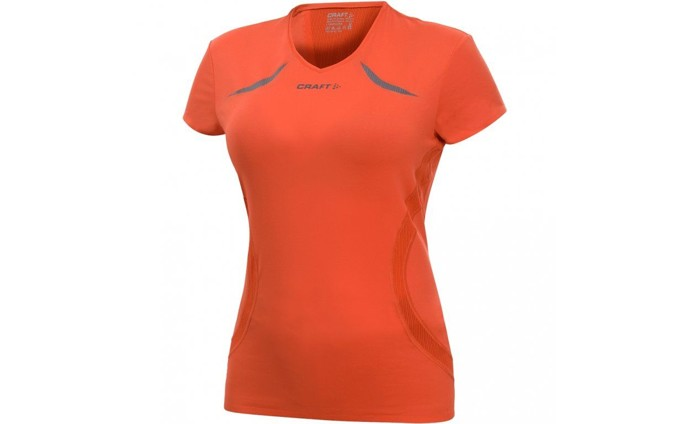 Dámské triko Craft 194176 Active Run V-Neck Tee Wmn Orange 1570
